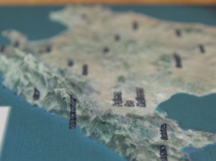 Mallorca Map - True Color w/Labels 3d printed Detail of Mountains...
