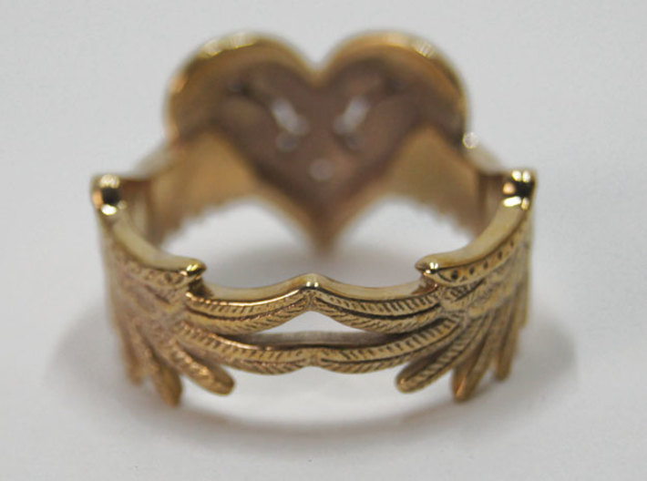 Winged Heart Ring SIZE 10 3d printed