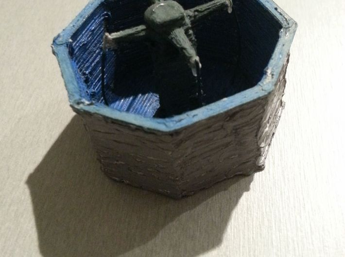 Well with four fountains (Brunnen) 3d printed Created with my badly configured 3d printer