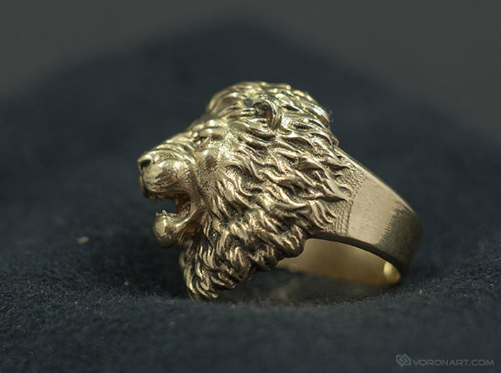 Angry lion antique bronze ring