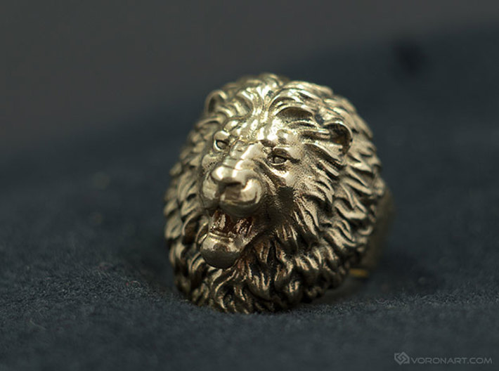 Aggressive Lion Ring 3d printed Natural brass, slightly polished by hand using rotary tool. Be ready polish your ring to get the same result!