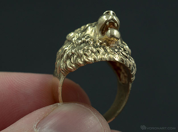Aggressive Lion Ring 3d printed Manually polished Raw Brass