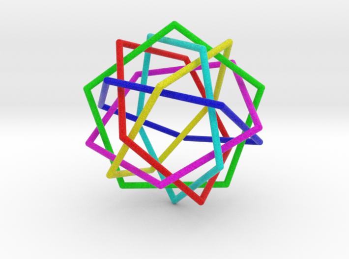 0453 Interwoven Set of Six Pentagons (d=7.0 cm) 3d printed