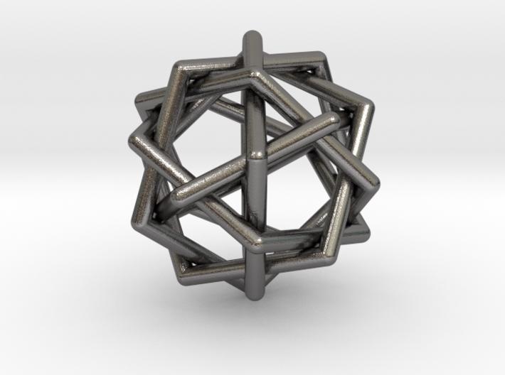 0459 Interwoven Set of Six Pentagons (d=2.8 cm) 3d printed