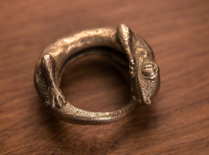 (Size 8) Gecko Ring 3d printed