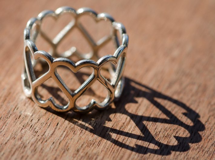 The Ring of Hearts (14 Hearts) Size: Japanese 9 3d printed