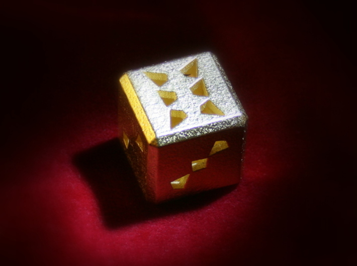 Dice No.3 S (balanced) (2cm/0.79in) 3d printed Polished Gold Steel