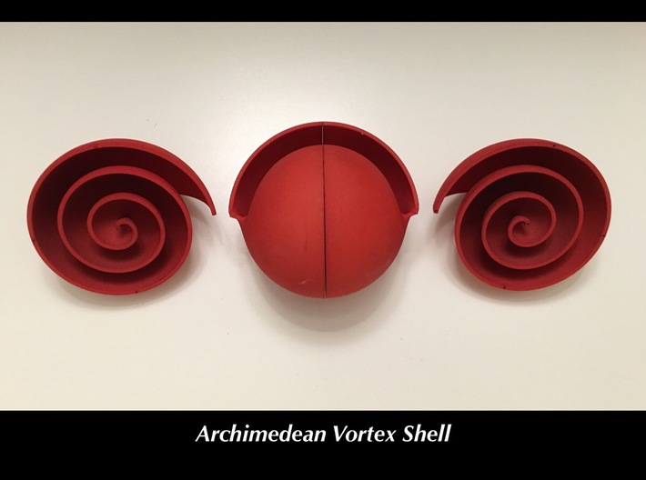 Archimedean Vortex Shell CW 3d printed CW and CCW halves join to form shell.