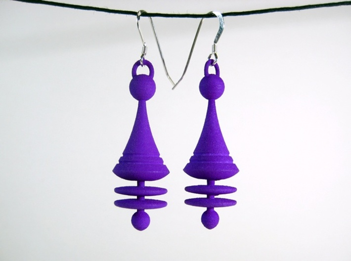 Colorful Orbit City Earrings 3d printed