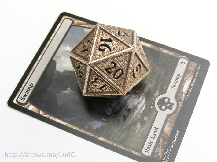 Hedron D20 SPINDOWN (Hollow), balanced die 3d printed With a Magic card for scale