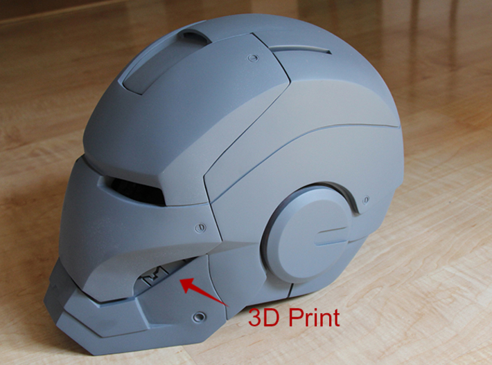 Iron Man Helmet Detail - Left Teeth 3d printed 3D print incorporated into Helmet Armor, Sanded & Primed