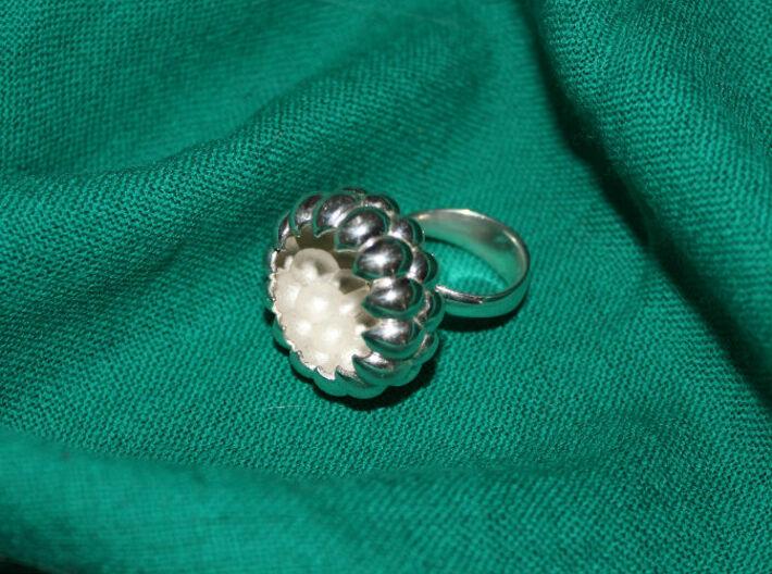 Big flower silver ring. Big bowl ring. Size7. 3d printed