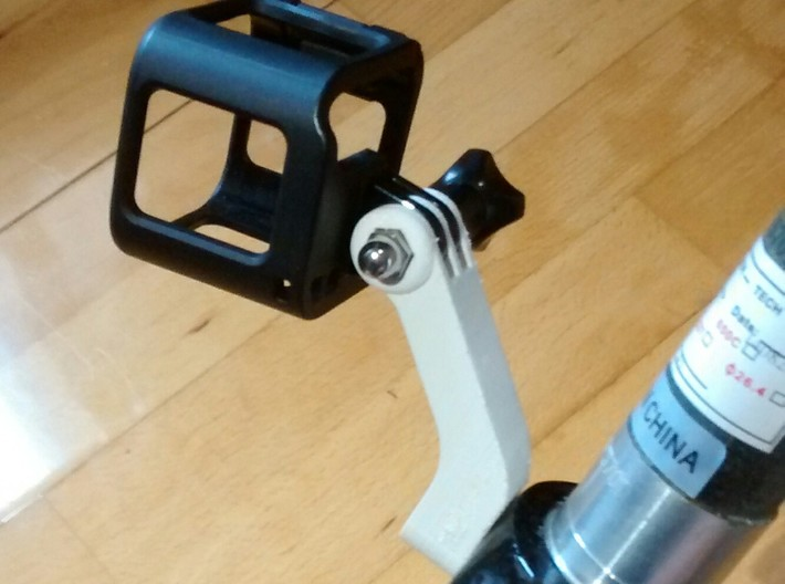 Fork Crown GoPro mount for disk or v-brake 3d printed Prototype in place with GoPro HERO Session mount.