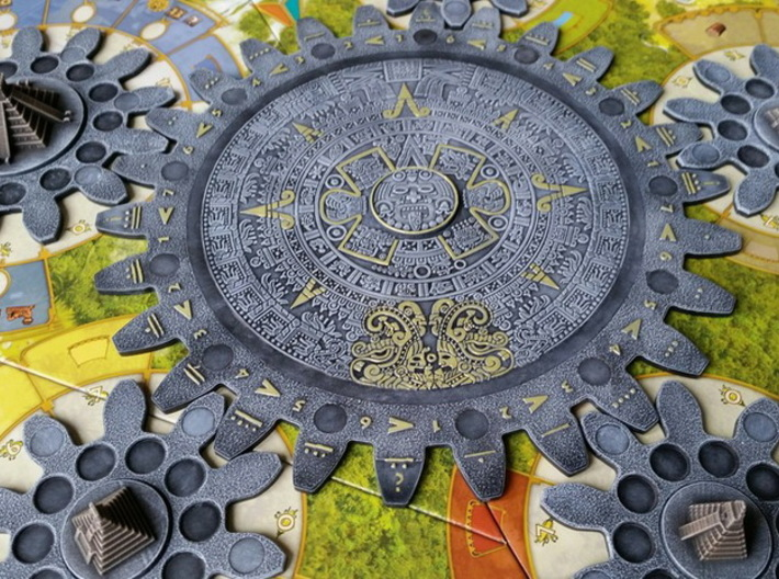 Mayan Pyramids and Calendar center (6 pcs) 3d printed White Strong Flexible, hand-painted. Photo courtesy of user Graou (on trictrac). Game cogs copyright Czech Games / Iello.
