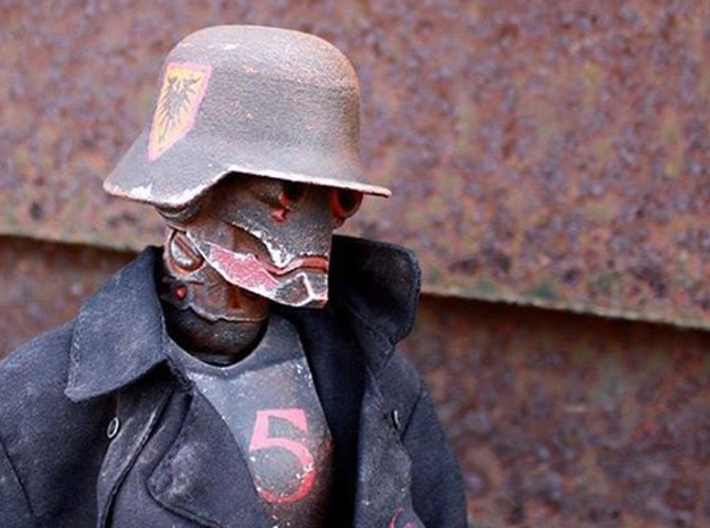 """""""Iron Skull"""" custom 1:6th scale head 3d printed Painted example, accessories not included"""