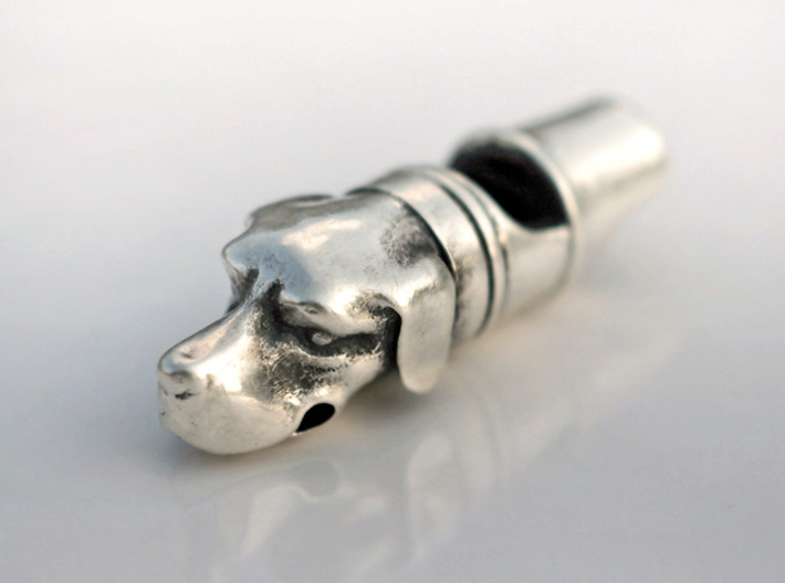 Precious Dog Whistle 3d printed Silver Glossy (blackened)
