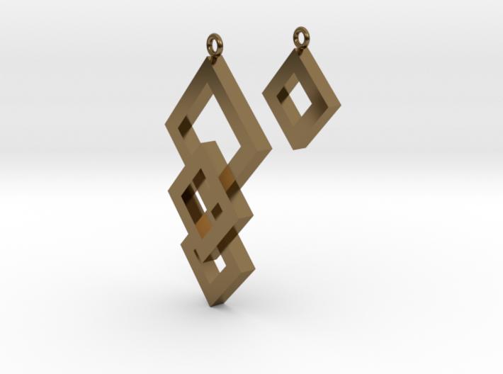 Three Squares Earrings - Asymmetrical 3d printed
