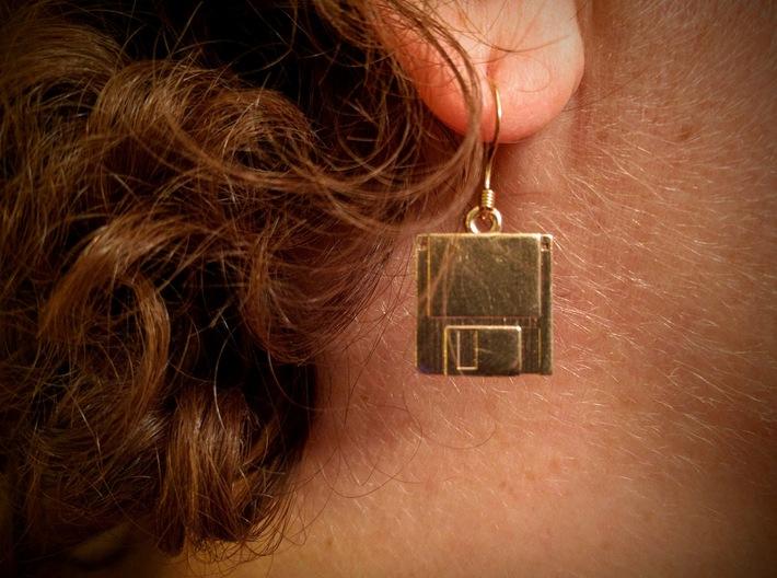 3 1/2 inch Floppy Disk Earrings 3d printed