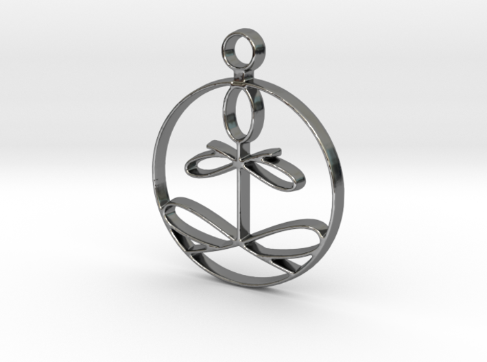 Yoga Glee Pendant with larger chain loop 3d printed