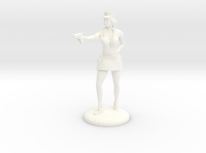 Lady Cop pointing her gun - 25mm version 3d printed