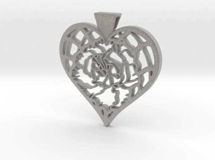 Birth Flower Heart Pendant: January Carnation 3d printed