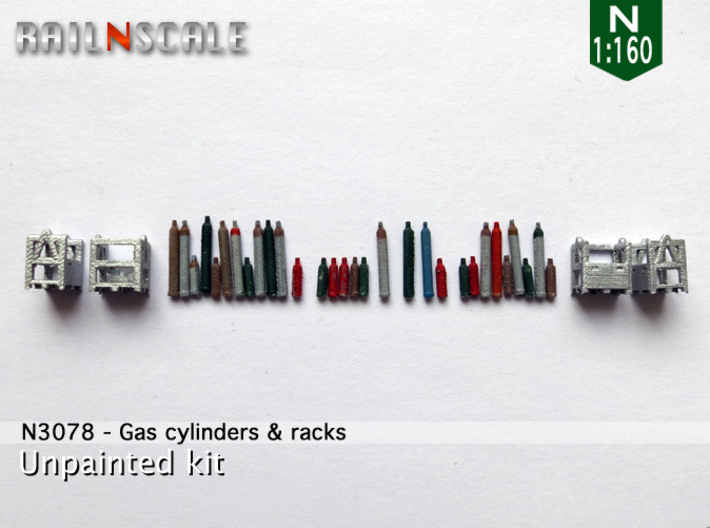 Gas cylinders and racks (N 1:160) 3d printed