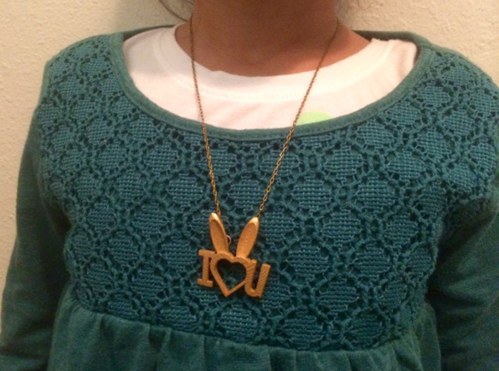 I Heart You Bunny pendant 3d printed great gift for a little one!