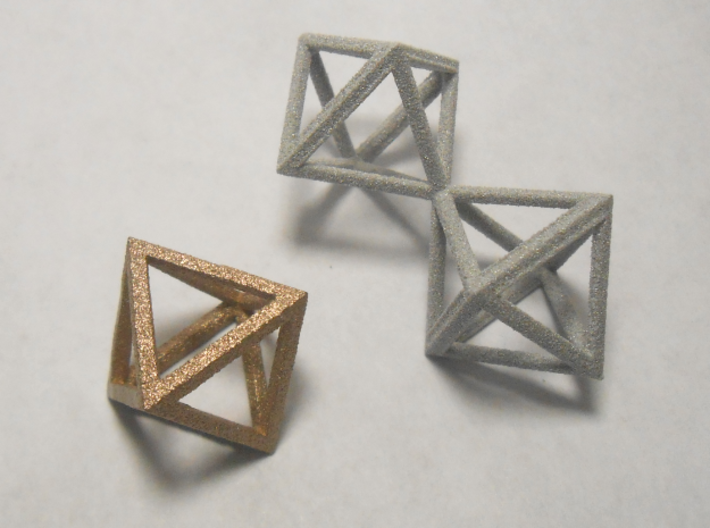 Faceted Minimal Octahedron Frame Pendant Small 3d printed Octahedron, with Twin octahedron.