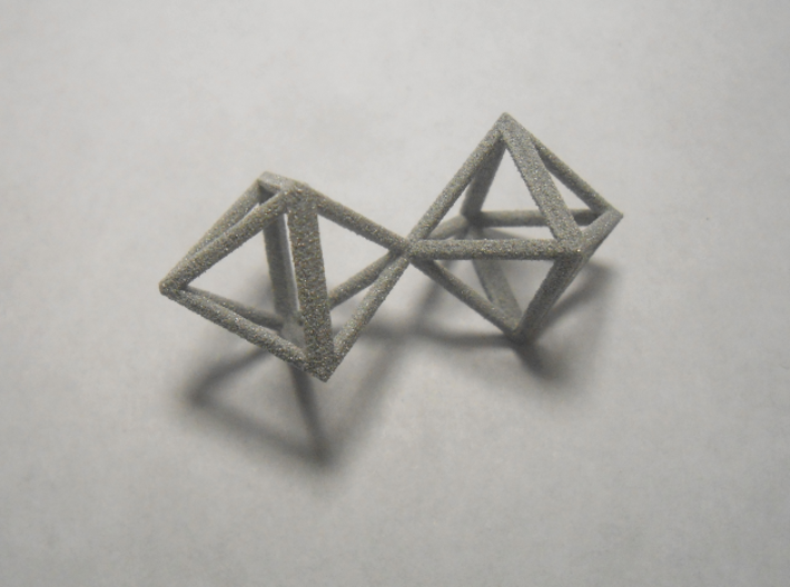 Faceted Twin Octahedron Frame Pendant Small 3d printed Close up.