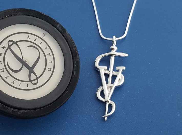 Rod Of Asclepius Veterinarian Pendant 3d printed