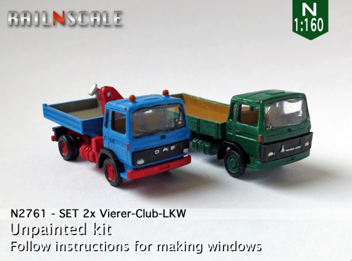 SET 2x Vierer-Club-LKW (N 1:160) 3d printed