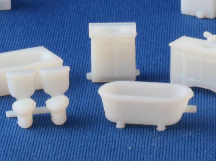 Kitchen And Bath HO scale for White Detail Plastic 3d printed