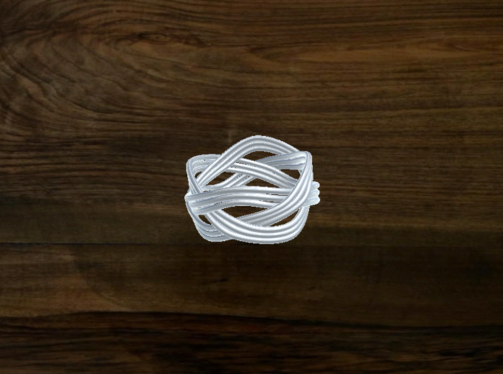 Turk's Head Knot Ring 3 Part X 4 Bight - Size 6.75 3d printed