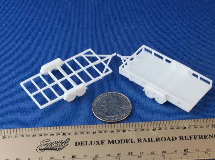 Flat Bed Trailer HO Scale 3d printed