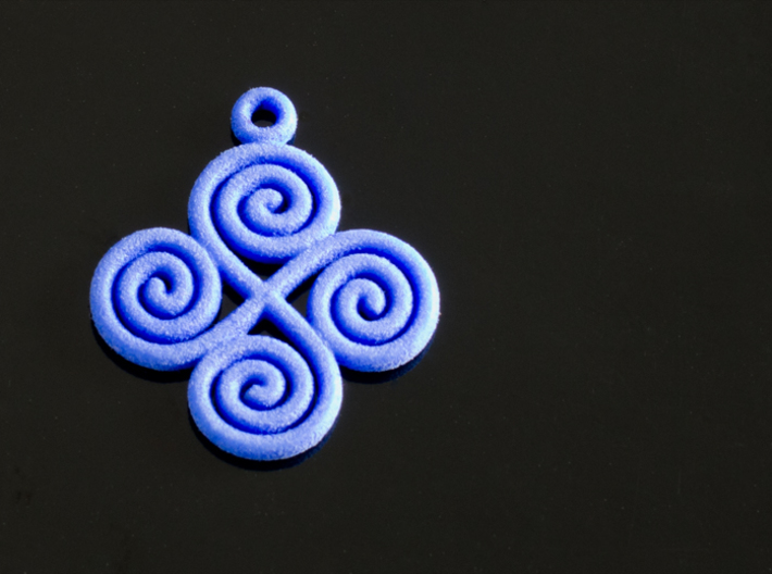 4 Spiral pendant 3d printed 4 Spirals pendant (Royal Blue Strong & Flexible)