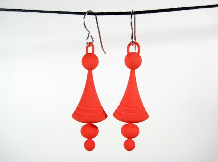 Luna Earrings - Space Age Earrings 3d printed