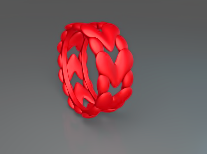 8 Hearts Ring (Size 18) 3d printed 8 Hearts ring (Red)