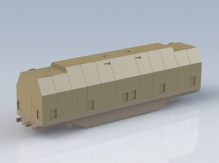 HO 1/87 Boeing aircraft parts railcar hoods 3d printed A render of the CAD model showing all parts assembled.