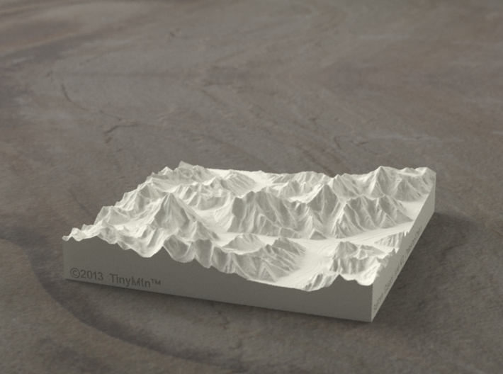 4''/10cm Baltoro Glacier and K2, Sandstone 3d printed Radiance rendering from the West, looking up the Baltoro to Gasherbrum IV