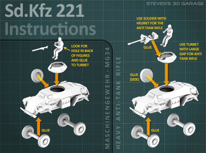 Sd.Kfz 221 (2 pack) HO 3d printed Instructions for the Sd.Kfz 221