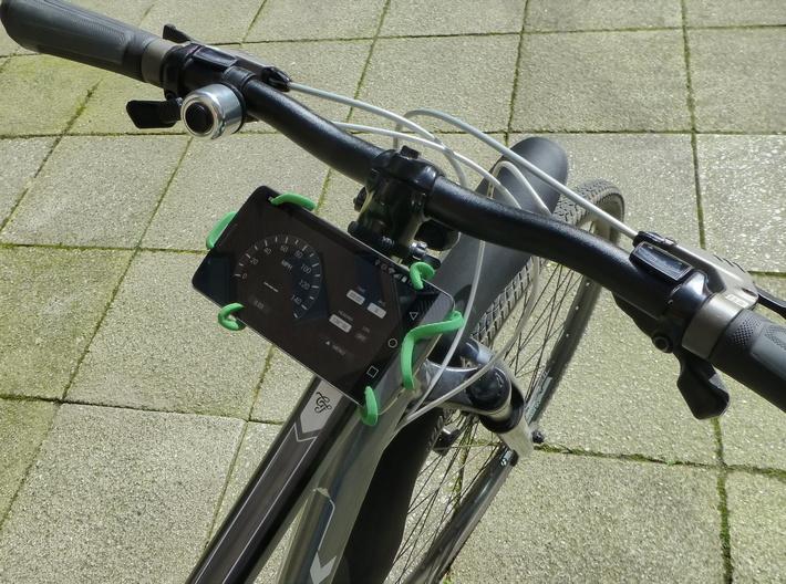 """Kraken Bike Mount for LG G3 (5.5"""" phones) 3d printed The Kraken mounted on a Trek 8.3DS holding my LG G3 running a speedometer app"""