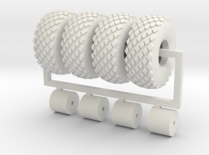 4 x 1/64 16.5L X 16.1 Turf Tires & Wheels 3d printed