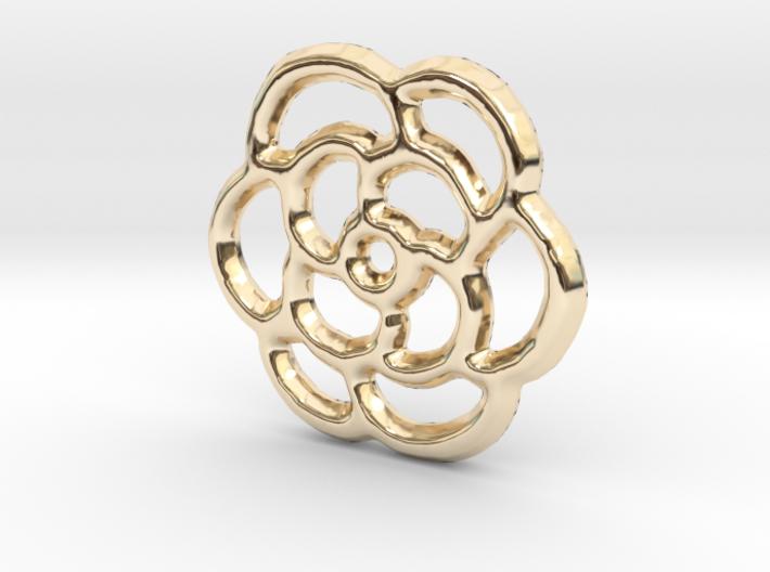 Camellia Pendant/Charm - 16mm 3d printed