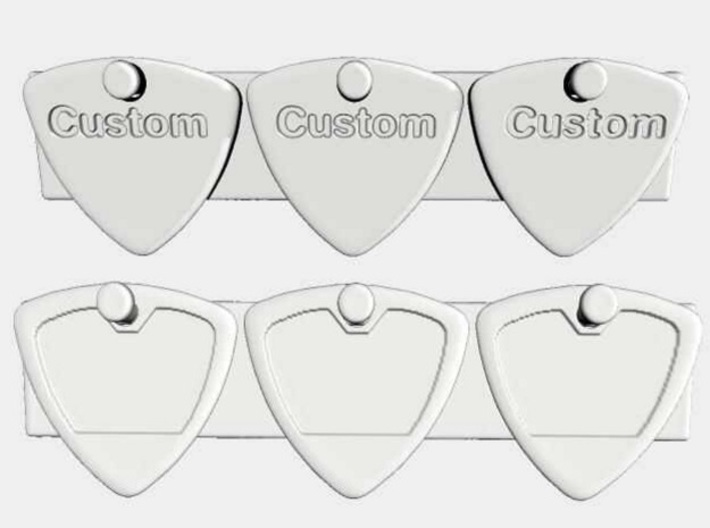 +guitar picks style 0001 1.4mm engrave 3x 3d printed Example of customization using a repeated word (top) and repeated test pattern (bottom).