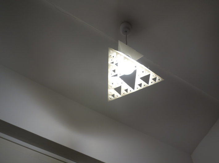 Sierpinski tetrix lamp shade 3d printed Lamp in place