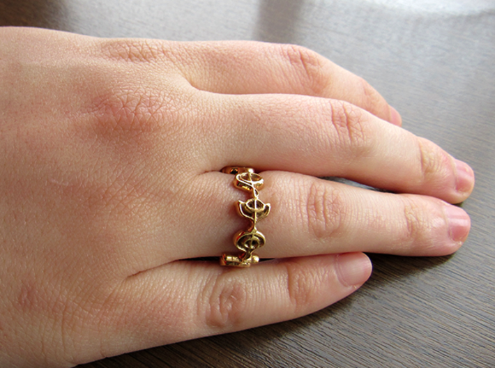 """""""Logical"""" Vulcan Script Ring - Cut Style 3d printed Pictured: Polished Bronze"""
