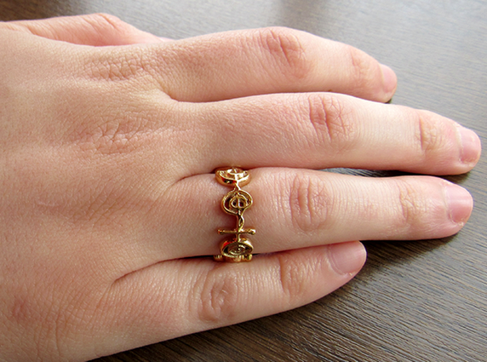 """Illogical"" Vulcan Script Ring - Cut Style 3d printed Pictured: Polished Bronze"