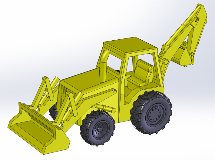 Backhoe Loader Z Scale 3d printed Z Scale Loader