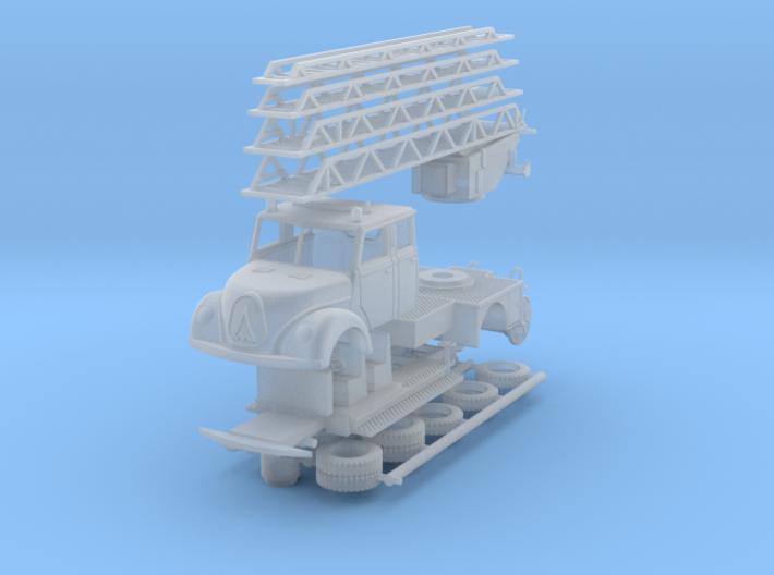Magirus Mercur Feuerwehr mit Drehleiter 1:160 3d printed