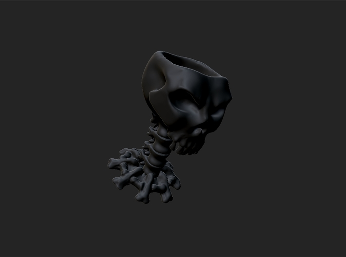 Decorative skull for holding items 3d printed Matte black ceramics